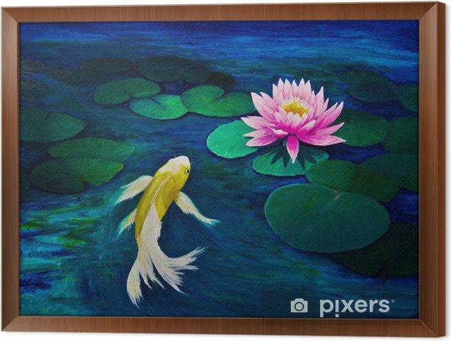 Obraz na płótnie w ramie Yellow Butterfly Koi i Pink Water Lily - Tematy