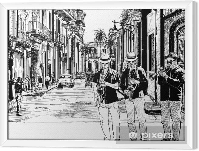 Obraz na płótnie w ramie Zespół jazzowy na Kubie - Jazz