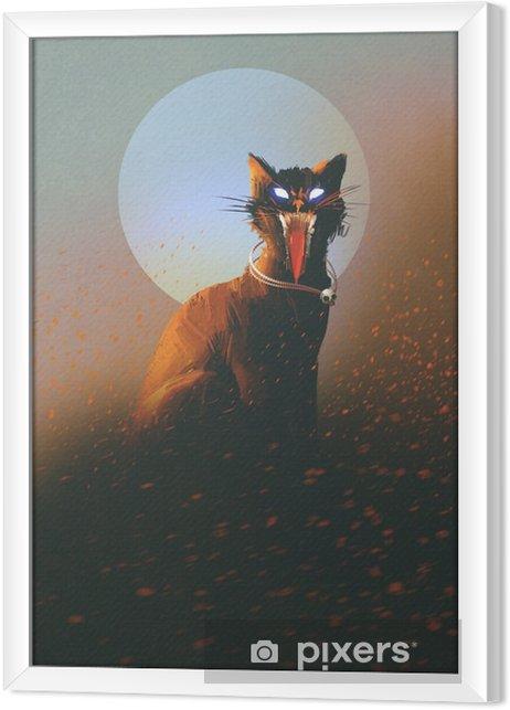 Obraz na płótnie w ramie Zły kot na tle księżyca, nieumarłych, horror koncepcji, ilustracji - Hobby i rozrywka