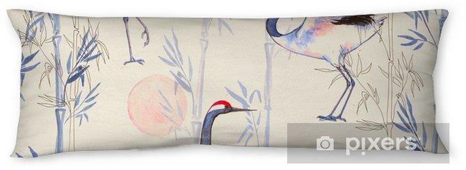 Oreiller de corps Aquarelle seamless main-dessinée avec grues blanches de danse japonaise. fond répétée avec des oiseaux délicats et bambou - Animaux