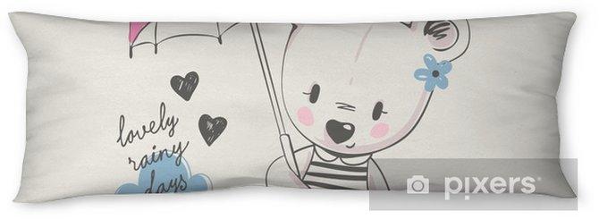 Oreiller De Corps Mignonne Petite Fille Avec Parapluie Dessin Animé Illustration Vectorielle Dessinés à La Main Peut être Utilisé Pour L Impression