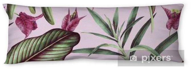 Oreiller de corps Seamless fleur tropicale, aquarelle. - Plantes et fleurs
