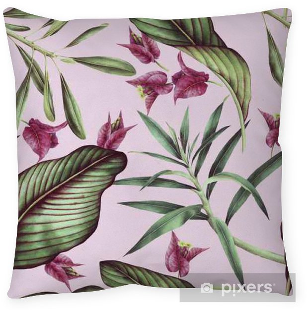 Örngott Seamless tropisk blommönster, akvarell. - Växter & blommor