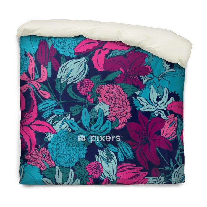 Påslakan Sömlöst mönster med lilium, ylang, rosor, nötkreaturblommor. färgrik vektor illustration. Skriv ut för hemtextil och kläder, tyg, textilier - Grafiska resurser