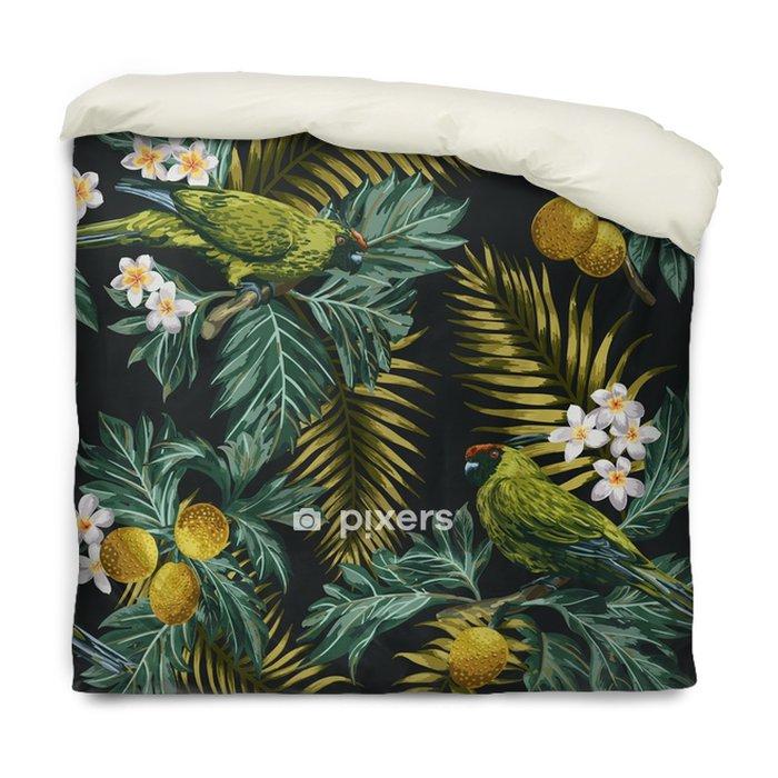Påslakan Sömlöst tropiskt mönster med löv, blommor och papegojor. - Djur