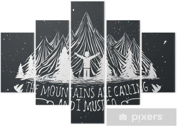 Pentáptico Cartel de la cita del vector desierto con la silueta del hombre, montañas y bosques - Paisajes