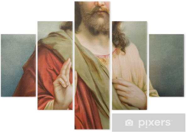Pentáptico Copia de la típica imagen católica de Jesucristo - Temas