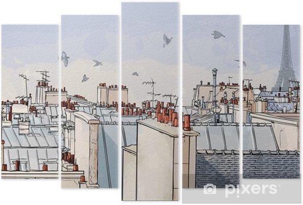 Pentáptico Francia - París tejados -