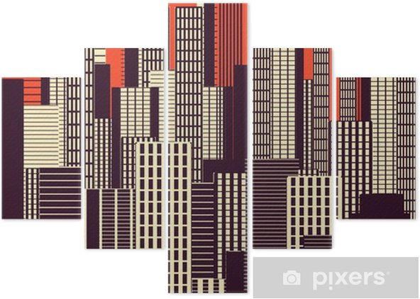 a three colors graphical abstract urban landscape poster in orange, and brown Pentaptych - Landscapes