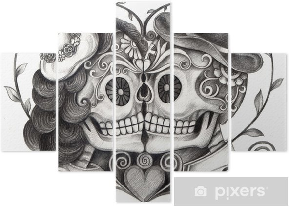 ad37234e0 Art Skull Day Of The Dead Art Design Skull Wedding In Love Action. Art  Design Skull Wedding In Love Hand Pencil Drawing On Paper