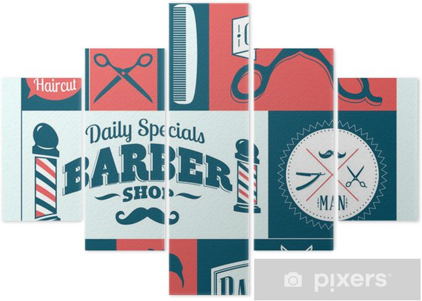 barber shop logo graphics and icons Pentaptych - Fashion