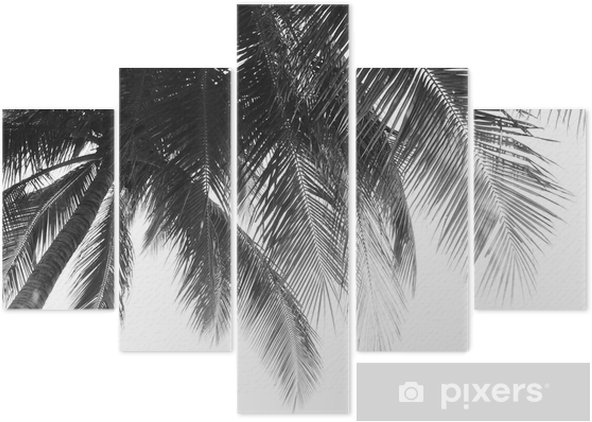 beautiful palms leaf on white background Pentaptych - Plants and Flowers