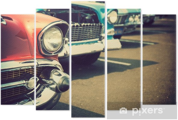 Classic cars in a row Pentaptych - Transport
