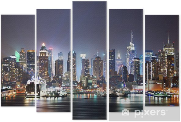New York City Times Square Pentaptych -