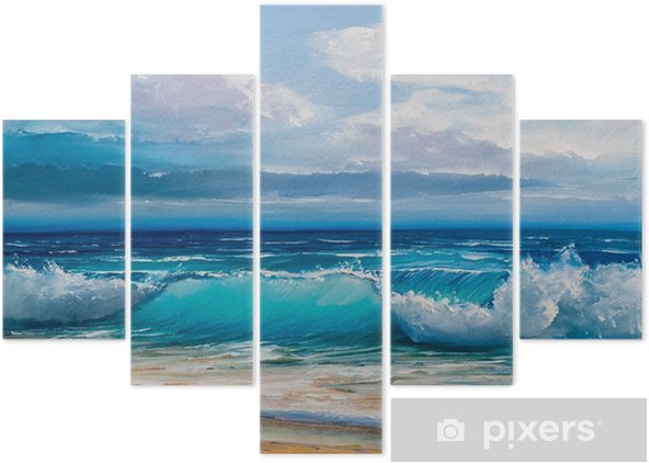 Oil painting of the sea on canvas. Pentaptych - Hobbies and Leisure