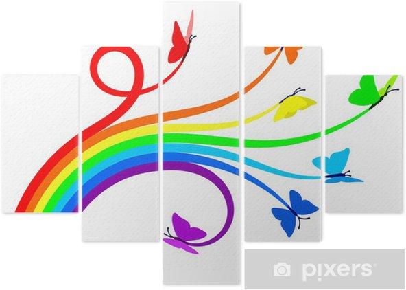 Rainbow butterflies Pentaptych - Wall decals