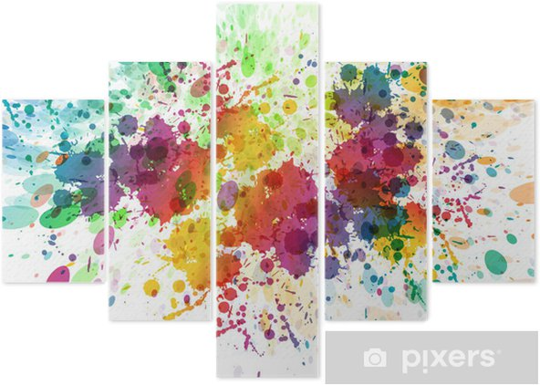 raster version of Abstract colorful splash background Pentaptych - Hobbies and Leisure