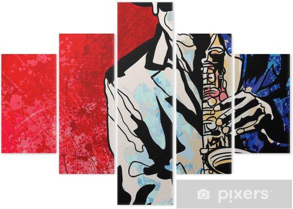 Saxophone player Pentaptych - Jazz