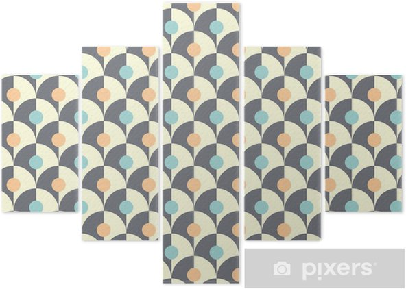 Seamless simple retro geometrical pattern of classic style Pentaptych - Backgrounds