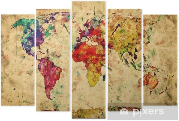 Vintage world map. Colorful paint, watercolor on grunge paper Pentaptych -