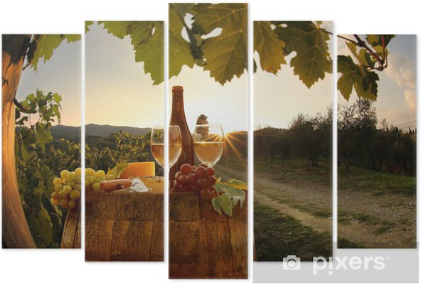 White wine with barell in vineyard, Chianti, Tuscany, Italy Pentaptych - Seasons