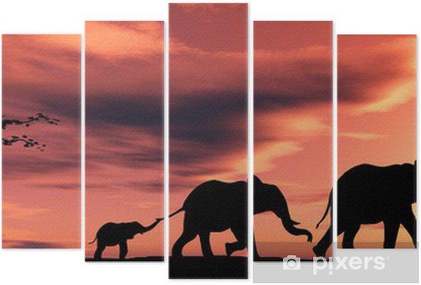 Pentaptychon Familie der Elefanten - Themen
