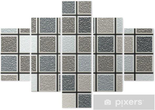 Pentaptychon Grau Und Braun 3D Struktur Fliesen Muster