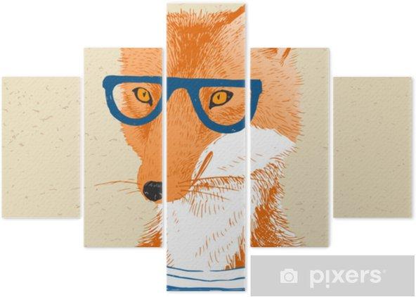 Pentaptychon Hand gezeichnet gekleidet Fox im Hipster-Stil - Tiere