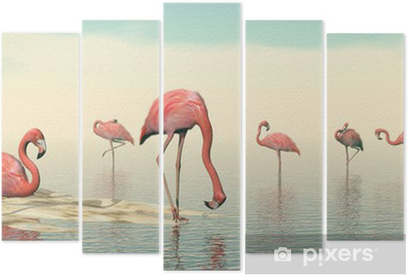 Pentaptychon Herde von rosa Flamingos - 3D übertragen - Vögel