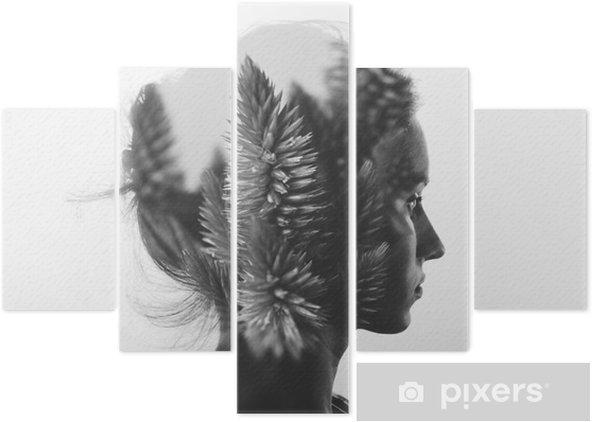 Pentaptychon Kreative Doppelbelichtung mit dem Porträt des jungen Mädchens und Blumen, monochrome - Menschen