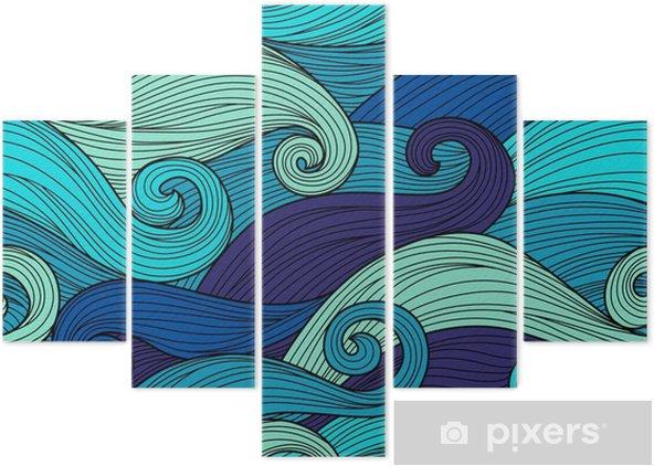 Pentaptychon Vektor nahtlose Muster mit abstrakten Wellen - Landschaften