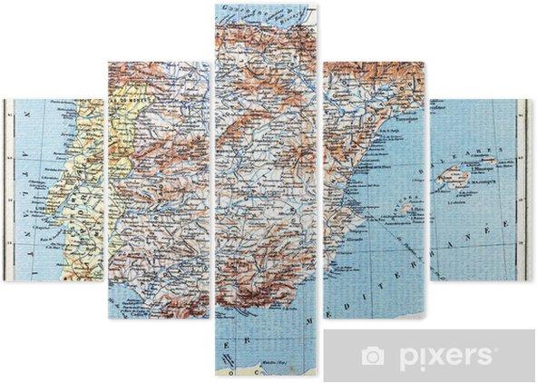 Pentaptych Kart Over Spania Og Portugal Pixers Vi Lever For