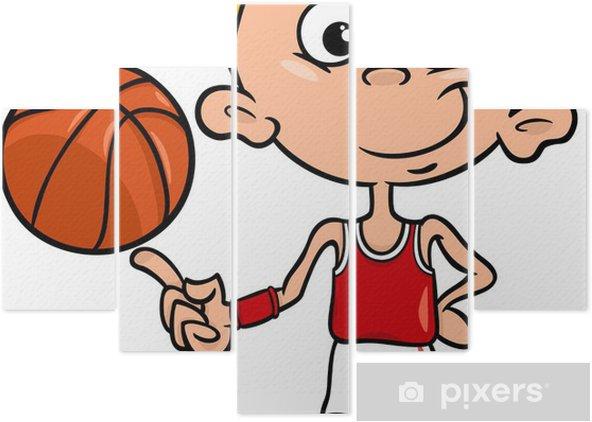 Pentaptych Chlapec Basketbalista Kreslene Ilustrace Pixers