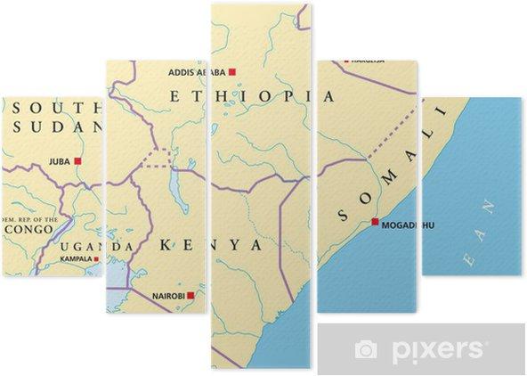 Pentaptych Vychodni Afrika Mapa Ostafrika Land Karte Pixers