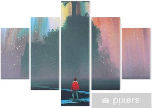 Pentaptyk Man börja en resa på slingrande väg till det stora trädet mot natthimlen, illustration - Hobby och fritid