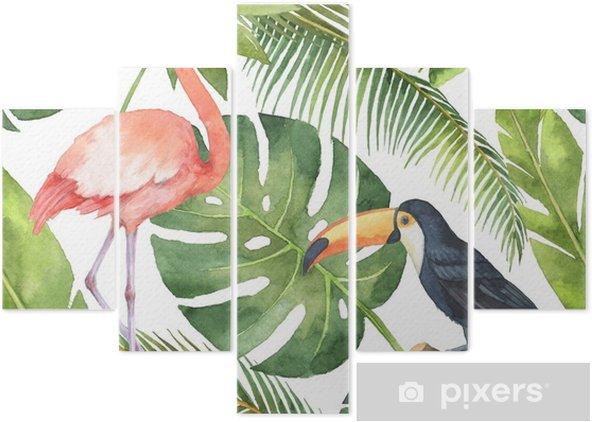 Pentaptyk Akwarela bezszwowe wzór z kokosa i palmy na białym tle. - Rośliny i kwiaty