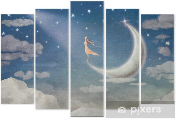 Pentaptyk Dziewczyna na księżycu podziwia nocne niebo - ilustracja sztuki - Uczucia i emocje