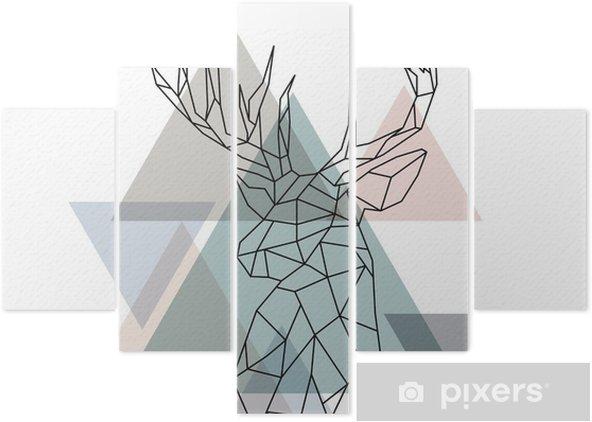Pentaptyk Ilustracja geometryczny renifer - Zwierzęta