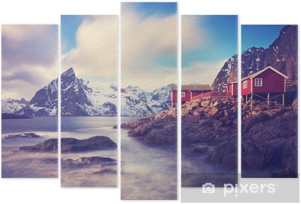 Pentaptyk Lofoty w zimie - Krajobrazy