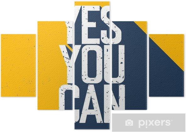 """Pentaptyk Motywacyjne plakat z napisem """"Yes You Can"""". Cienie na wy - Zasoby graficzne"""