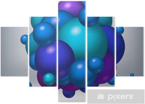 Pentaptyk Niebieskie, fioletowe i zielone kule trzymać się razem. kule Tom, obiekt abstrakcyjny, elementy konstrukcji wektora - Zasoby graficzne