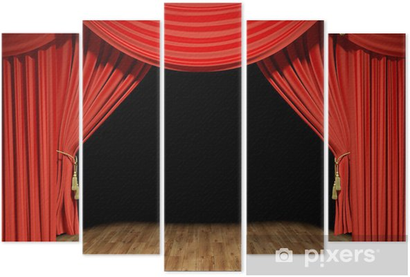 Pentaptyk Red Stage aksamitne zasłony teatr - iStaging