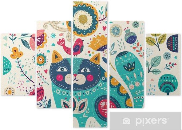 Pentaptyk Wektor kolorowych ilustracji z pięknych kotów, ptaków, motyli i kwiatów - Zwierzęta