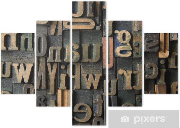 Pentaptyk Zabytkowe drewniane litery skład -