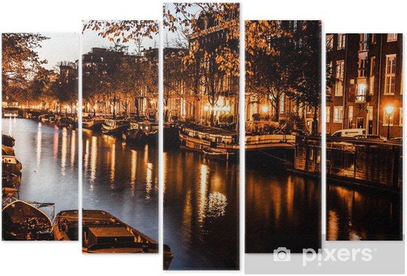 Pentaptyque Amsterdam dans la nuit, les Pays-Bas - Thèmes