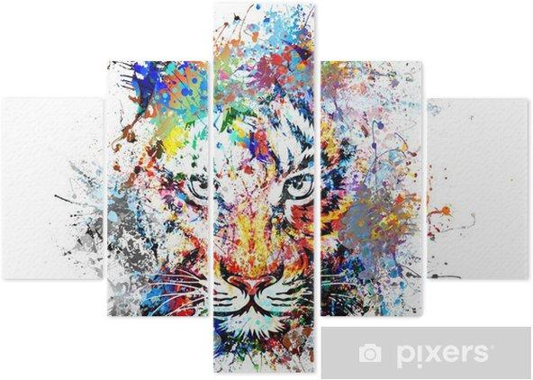 Pentaptyque Fond clair avec le tigre - science &; nature