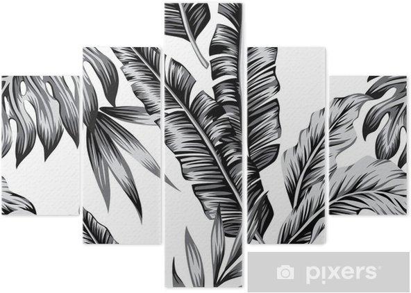 Pentaptyque Fond transparent branché de plantes tropicales - Plantes et fleurs