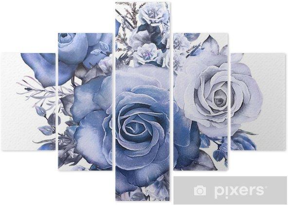 Pentittico Fiori ad acquerelli. illustrazione floreale rosa blu. ramo di fiori isolati su sfondo bianco. foglia e boccioli composizione carina per matrimonio o biglietto di auguri - Piante & Fiori