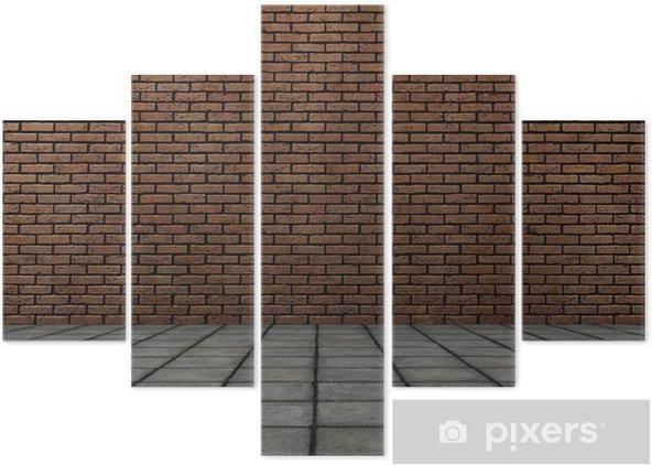 Pentittico frontale 3d rendering di muro di mattoni con piastrelle