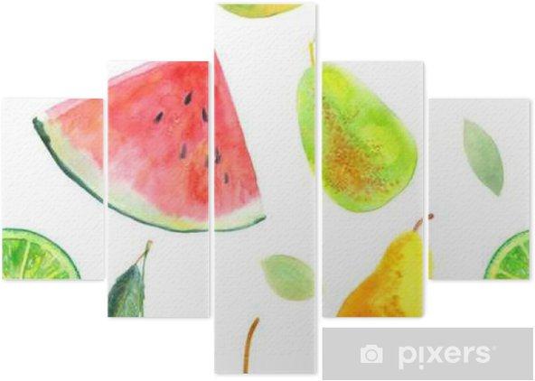 Pentittico Reticolo senza giunte con le pere calce fruit.Watermelon di limone e cherry.Food picture.Watercolor disegnati a mano illustrazione. - Cibo